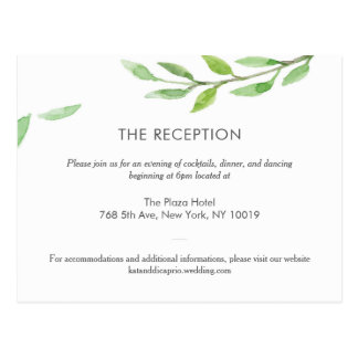 'Greenery Rose Dreaming' Wedding Details-Reception Postcard