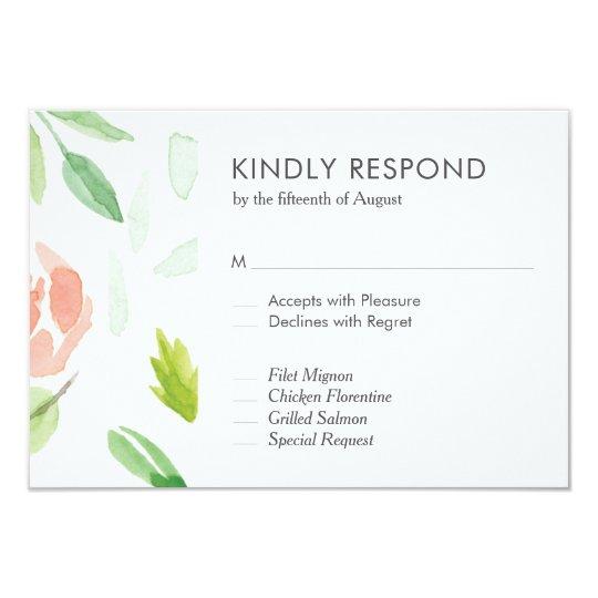 'Greenery Rose Dreaming' Wedding RSVP Card