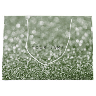 Greenery Rosmarin Cali Green Glitter Favor Gift Large Gift Bag