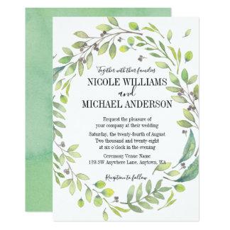 Greenery Rustic watercolor WREATH Foliage WEDDING Card