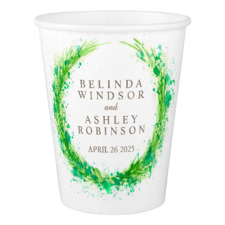 Greenery splashed watercolor wreath wedding cups paper cup