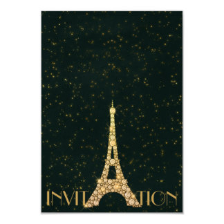 Greenery Starry Gold Eiffel Tower Paris Crystals Card