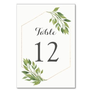 Greenery table number card gold geometric frame