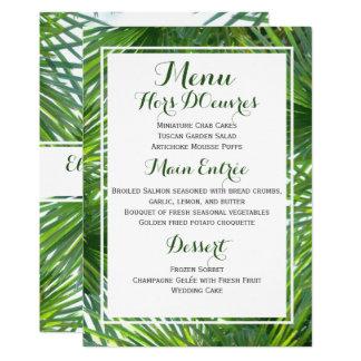 Greenery Tropical Wedding Menu Card