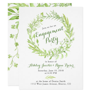 Greenery Watercolo Wreath Engagement Party Card