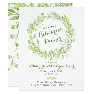 Greenery Watercolo Wreath Rehearsal Dinner Card