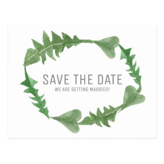 Greenery Watercolor Foliage Save the Date Postcard