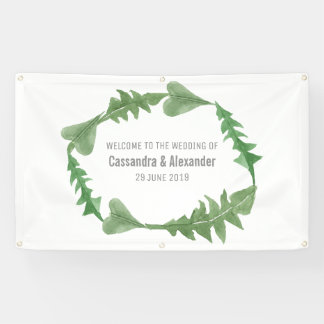 Greenery Watercolor Foliage Wedding Banner