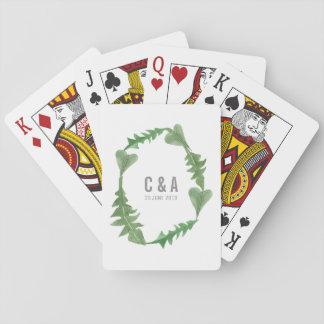 Greenery Watercolor Foliage Wedding Playing Cards