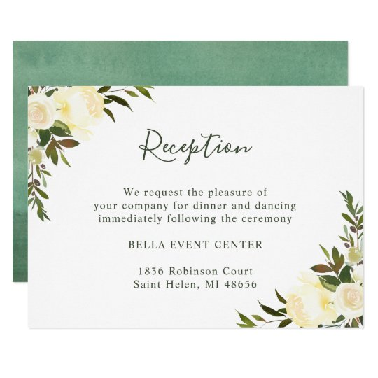 Greenery Watercolor Ivory Floral Wedding Reception Card Zazzle