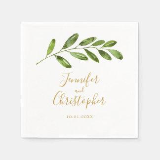 Greenery Watercolor Leaf Modern Wedding Napkin Disposable Napkins