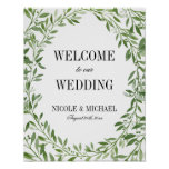 Greenery Watercolor Leaf Wreath Wedding Welcome Poster
