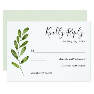Greenery Watercolor Leaves Wedding RSVP Card