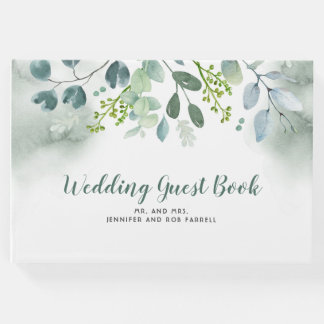Greenery Watercolor Wedding Guest Book