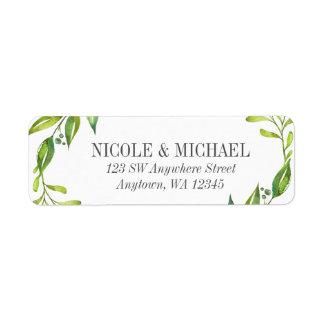 Greenery Watercolor Wreath Return Address