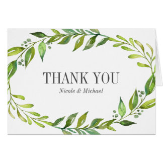 Greenery Watercolor Wreath Thank You Card