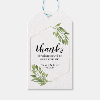 Greenery  Wedding Favour Gift Tag botanical