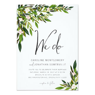 Greenery Wedding Invitation Set Botanical Invite