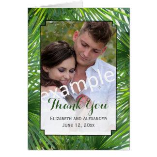 Greenery Wedding Photo Folded Thank You Card