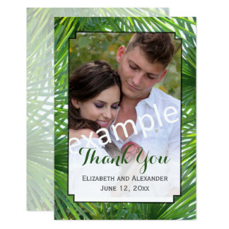 Greenery Wedding Photo Small Flat Thank You Card