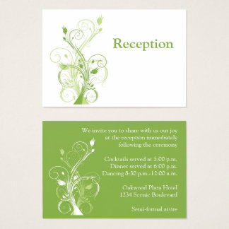Greenery, White Floral Reception Enclosure Card