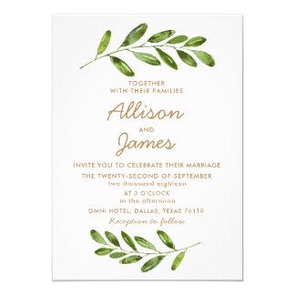 Greenery Wreath Leaves Elegant Wedding Invitation