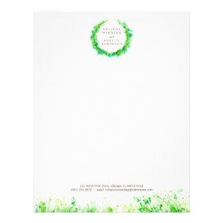 Greenery wreath modern watercolor letterhead