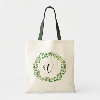 Greenery wreath Monogram Name Tote- Adiantum Tote Bag