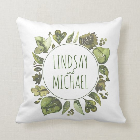 Greenery Wreath Rustic Woodland Watercolor Couple Throw Pillow