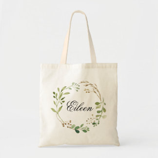 Greenery Wreath Wedding Welcome Tote Bag
