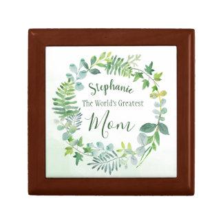 Greenery Wreath World's Greatest Mom Personalized Gift Box