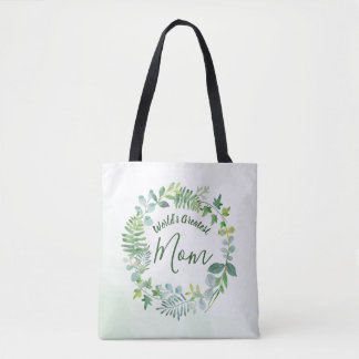 Greenery Wreath World's Greatest Mom Tote Bag