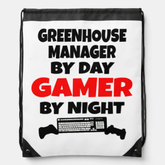 Greenhouse Manager by Day Gamer by Night Drawstring Bag