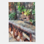 Greenhouse with Flowerpots Hand Towels