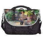 Greenhouse with Flowerpots Laptop Messenger Bag