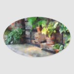 Greenhouse with Flowerpots Oval Sticker