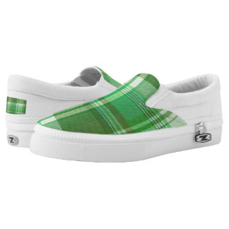 Greenie, Green Plaid Slip On Sneakers