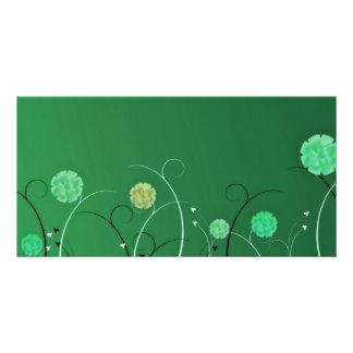 Greenish blossom and black swirls photo greeting card