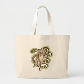 Greenish octopus large tote bag