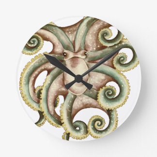 Greenish octopus wall clock