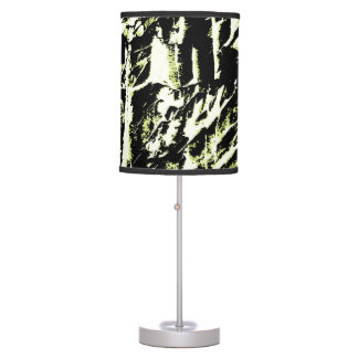 Greenish White Black Abstract Art Design Table Lamp