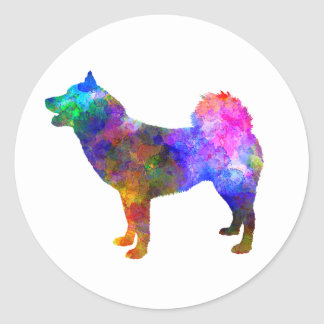 Greenland Dog in watercolor Classic Round Sticker