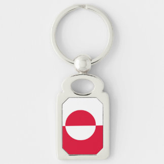 Greenland Flag Silver-Colored Rectangle Keychain