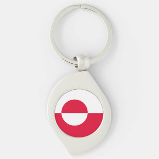Greenland Flag Silver-Colored Swirl Keychain
