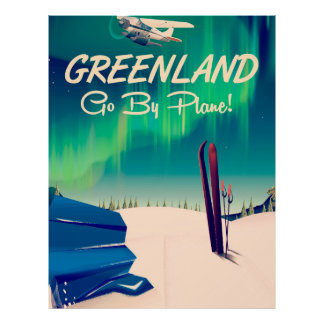 Greenland 'Go By Plane!' Poster