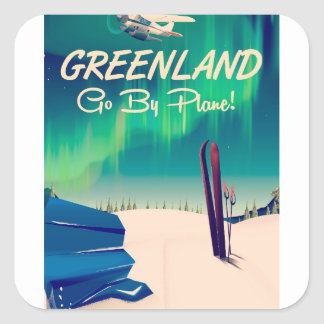 Greenland 'Go By Plane!' Square Sticker