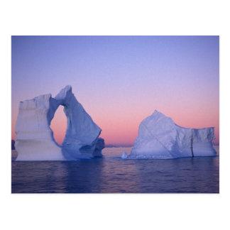 Greenland, Iceberg at sunset. Postcard