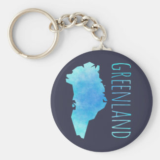 Greenland Map Basic Round Button Keychain