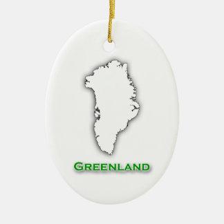 Greenland Map Logo Ceramic Ornament