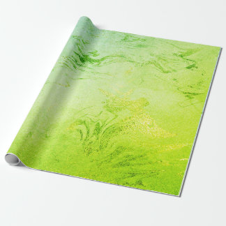 Greenly Spring Mint Emerald Grass Molten Shiny Wrapping Paper